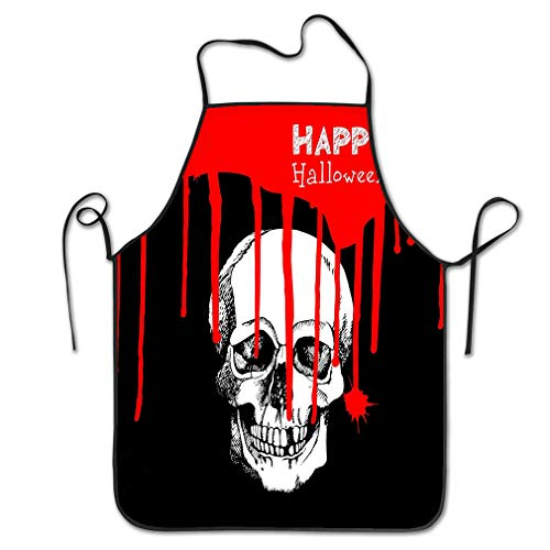 Funny Personality Apron death skull dead skeleton halloween cartoon horror design Abstract Chef Kitchen Aprons 20.4 * 28.3 inch (Metzger Dead Halloween)