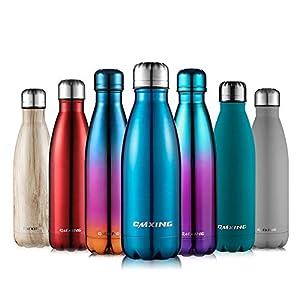 cmxing Doppelwandige Thermosflasche 500 mL / 750 mL mit Tasche BPA-Frei Edelstahl Trinkflasche Vakuum Isolierflasche