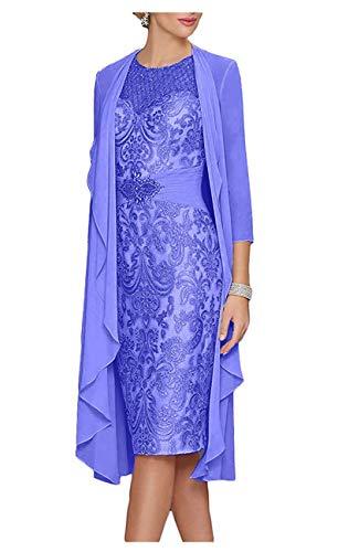 ShineGown Damen Spitze Mutter der Braut Kleider Strass Gürtel mit Chiffon Jacke für Hochzeit Knielangen -