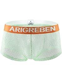 OPAKY Transpirable Sexy Ropa Interior de Encaje Pantalones Cortos Levantada básicos para Hombre Calzoncillos Bóxers Hombre Microfibra Ropa Interior Underwear Trunks