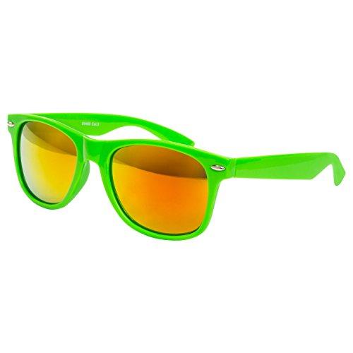 Ciffre Sonnenbrille Nerdbrille Nerd Retro Look Brille Pilotenbrille Vintage Look - ca. 80 verschiedene Modelle Neon Grün Feuer Glas