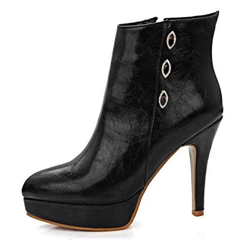 TAOFFEN Damen Knöchelriemchen Reißverschluss Spitze Toe Plateau Stiefel Stilett Mode Elegant Schuhe (43 EU, Welß)
