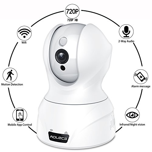 Aoleca Telecamera IP HD Security Camera di Sorveglianza WiFi Videocamera Casa Monitor Videosorveglianza 720P Cam con Visione Notturna Pan / Tilt, Audio Bidirezionale, Motion Detection