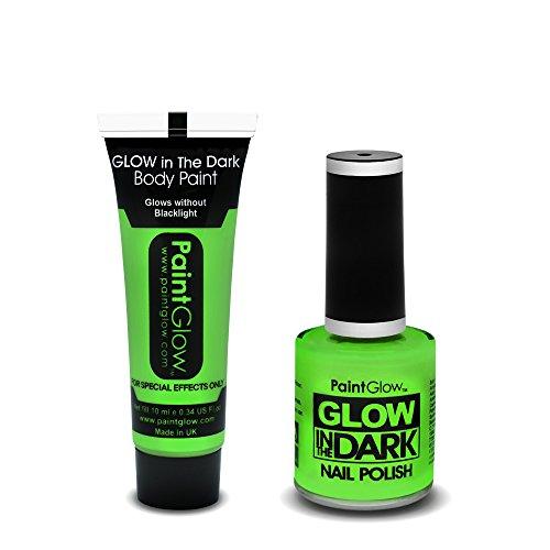 -The-Dark Kosmetik Box Set - Fluoreszierende Grüne Farbe für Körper, Gesicht, und Nägel (Glow In The Dark Make-up)