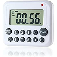 AOLVO Temporizador de Cocina con Cuenta Atrás, Electrónico Cronómetro y Magnético Temporizador, Base Magnética y Gancho del Soporte Retráctil