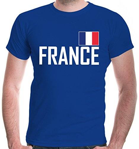 buXsbaum Herren T-Shirt Frankreich | France Francia Europa Ländershirt Fanshirt Flagge Trikot Reise | L, Blau