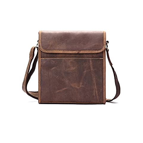 Mens Causal Medium Square Leather Crossbody Shoulder Handbag for Office Work Business