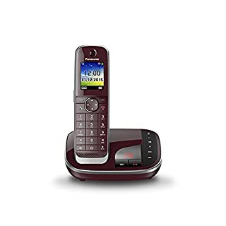 Panasonic KX-TGJ320GR Familien-Telefon mit Anrufbeantworter/ DECT Basisstation, schnurloses Telefon, strahlungsarm, weinrot