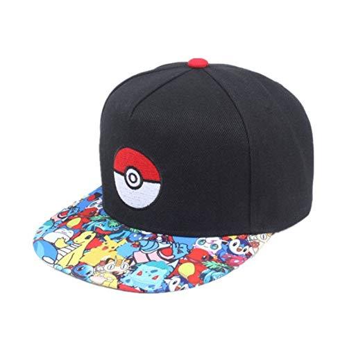 Imagen de maozijie cosplay juego para móvil pokemon go  de béisbol  de hip hop mujeres mans anime sombrero plano ajustable pokemon ash ketchum hat
