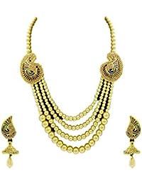 Designer Enclave Alloy Gold Color Necklace Set For Women DE-004