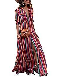 03839570dc30 Vestito a Righe Donna Lungo Estivo Casual Sciolto T-Shirt Mezza Manica  Camicie Vestiti con Bottoni Davanti Abiti Stile…