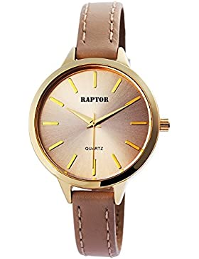 Raptor Analog Damenuhr, Leder, Ø 38 mm, Gold Beige - 197807500024