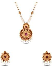 Kalyani Covering Gold Brass Kundan Long Necklace Set For Women & Girls. - B078THWGB9