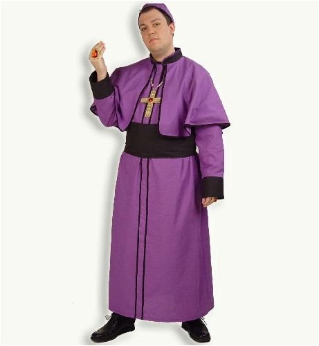 Erwachsene Für Kardinal Kostüm - Kardinal Paul Robe m Schärpe u Kopfbedeckung Herren Kostüm Gr 56