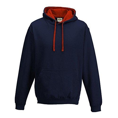 Just Hoods Varsity Sweat à capuche avec capuche couleur contrastée Blue - New French Navy/Fire Red
