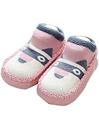 Mengonee Infantil del bebé antideslizantes zapatos de suela blanda calcetines peinados de algodón recién nacido niño