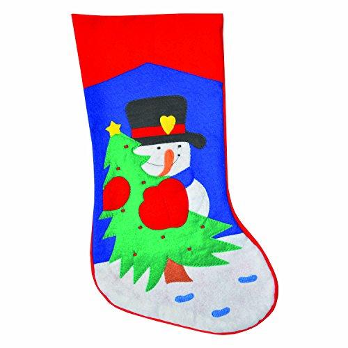 Komonee Weihnachtsbaum Schneemann traditioneller Weihnachtsrot Filz Strumpf Sack (2er Pack) -