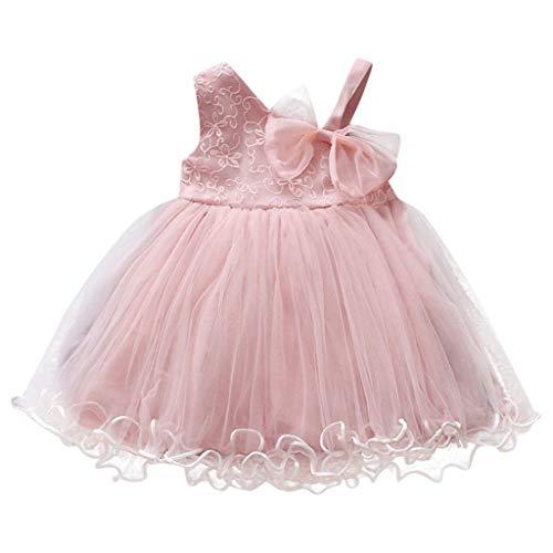 LHWY Kinder Mädchen Kleider Sommer Abendkleid ärmellos Einfarbig Rüschen Bogen Mesh Gaze Nähte Brautkleid Party Fauschigen Rock Kleid Elegant Pullover (Für Brautkleid Unter Rock)