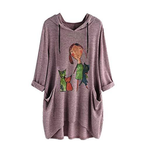 TOPKEAL Jacke Mantel Damen Frauen Casual Print Lange Ärmel Seite Tasche Kapuzen Unregelmäßige Top Bluse Shirts Herbst Winter Sweatshirt Kapuzenjacke Hoodie Pullover Coats (Pink A, XXL)