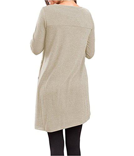 Donna Casual Vintage Manica Lunga Rotondo Collo Abito Tinta Unita Larghi Vestiti Vestitini T-Shirt Corti Camicia Vestito Da Giorno Dress Beige