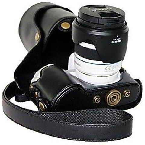 pelle dengpin® fotocamera coperchio di protezione borsa con tracolla per lenti Samsung NX300 18-55mm o obiettivo primario , white - Coperchio Primaria