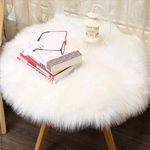 HEQUN oveja de piel sintética Felpudo alfombra Antideslizante Lujosa Suave Lana artificial Alfombra para salón dormitorio baño sofá silla cojín (Blanco, 60 X 60 CM)
