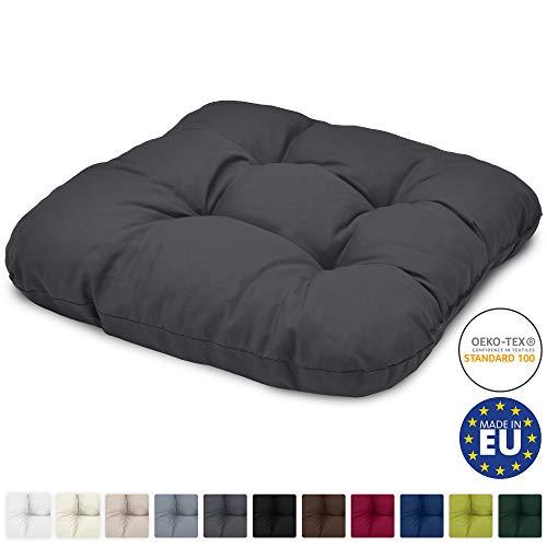 Beautissu Stuhlkissen 40x40 cm Lisa - Bequemes 8cm Kissen für Stuhl & Bank - Gepolstertes Sitzkissen Stuhl für Ihre Esszimmer Stühle und Bänke - Sitzpolster in Anthrazit -