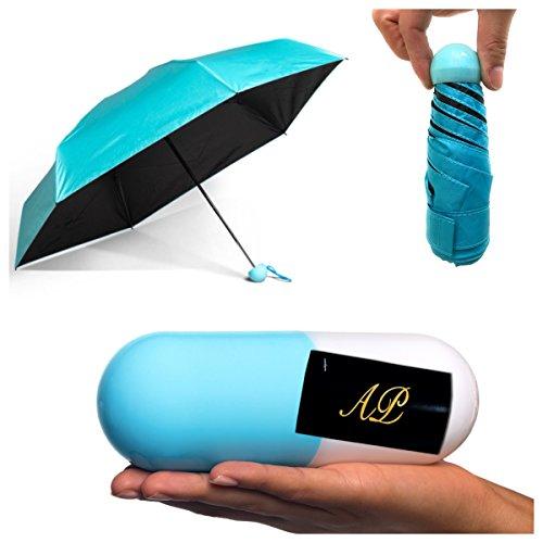 AP - Taschenschirm - Mini Regenschirm - Regenschirm - UV undurchlässig Schirm-Tasche & Reise-Etui – klein, leicht & kompakt (Hellblau)