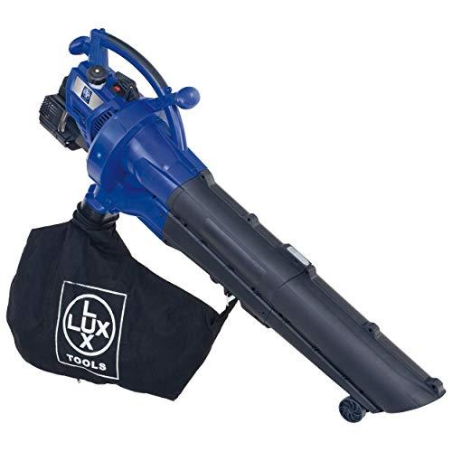 LUX-TOOLS B-LS-30/40 Benzin-Laubsauger mit Blas- & Häckselfunktion inkl. 40 L Fangsack & Tragegurt   Kabelloser 3in1 Laubbläser und -sauger mit 30 cm³ 2-Takt Motor & Hilfs-Rollen