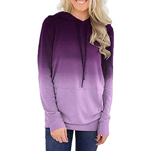 BURFLY Mode Damen Tops, Frauen Langarm Tasche Steigung Bedruckte Tunnelzug Hoodies Sweatshirt Pullover Oberteile Casual Bluse Top -
