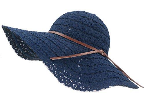 Roffatide Damen Spitze Baumwolle Schlapphut Großer Krempe Strohhut Sommerhüte Für Frauen Mit Bowknot Strandhut Mütze Marineblau