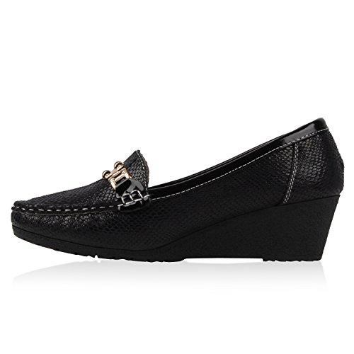Damen Komfort Schuhe Perlen Pumps Schleifen Keilpumps Slipper Schwarz Snake Lack