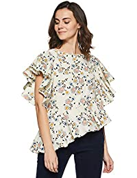 Miss Chase Women's Multicolored High-Low Ruffled Top
