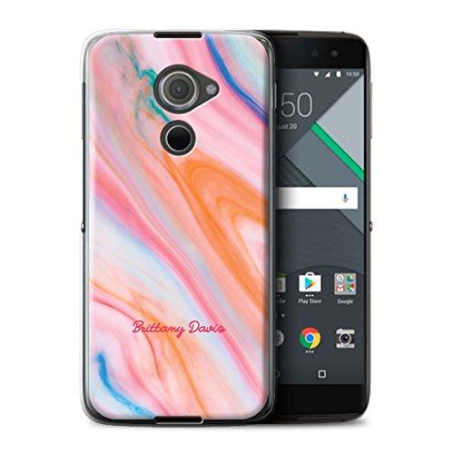 Stuff4® Personalisiert Personalisiert Marmor Hülle für BlackBerry DTEK60 / Korallenstempel Design/Initiale/Name/Text Schutzhülle/Case/Etui