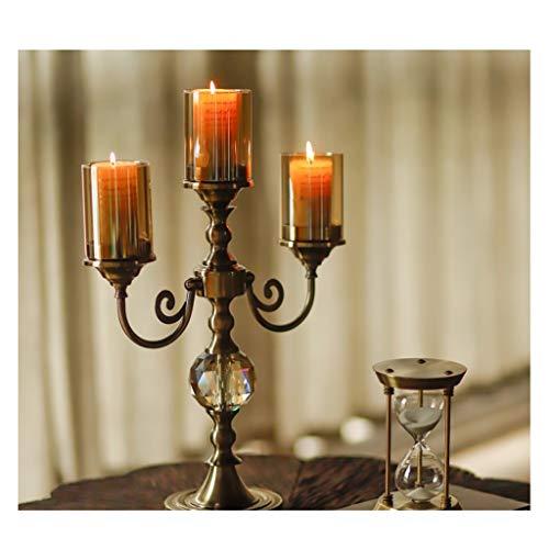 YJPDPZT Nordic Wind Kerzenständer Kerzenhalter American Classic Metall Glas DREI Kerzenständer europäischen Modell Zimmer Retro Wohnzimmer Esstisch Veranda dekorative Ornamente -