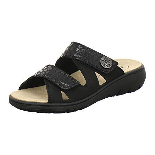 AFS-Schuhe 2808, komfortable Damen-Pantoletten aus Leder, praktische Arbeitsschuhe mit Wechselfußbett, Bequeme Hausschuhe Größe 40 EU Schwarz (schwarz)