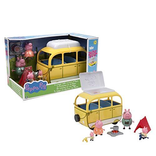 Peppa Pig- Camping-Car avec Tente et 4 Personnages, PPC46, Multicolore
