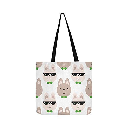 Schöne kaninchen mit mädchen und jungen leinwand tote handtasche umhängetasche crossbody taschen geldbörsen für männer und frauen einkaufen tote