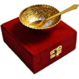Handicraft Hub India Silver Gold Plated Decorative Spoon and Bowl Set for Diwali Gift Set | Set of 2 Items