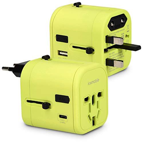 kwmobile adaptador de viaje para 150 países - adaptador de corriente universal con 4 puertos USB - adaptador para viajes 3A tipo C en verde