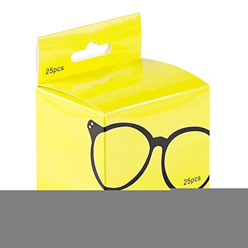 UIYU Vorbefeuchtete Brillenreinigungstücher, 25 Stück Brillenreinigungstücher für Brillen, Kamera, Objektiv, Telefon, Computer, LCD-Bildschirm, Tastatur – unabhängiges Paket, gelb, Free Size