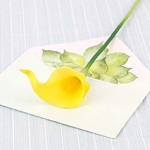 Kostüm Schneeball - Jun7L Latex Real Touch Künstliche Calla Lilien Blumen für Hochzeit Sträuße Home Hotel Gartendekoration (10PCS) Gelb C 35x5cm