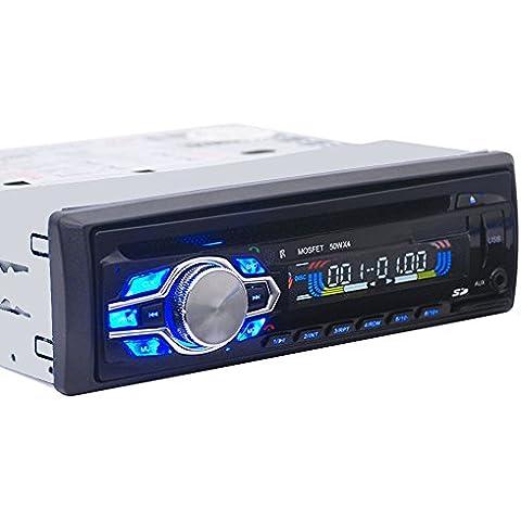 Zetong-Radio para coche MP3, sintonizador PLL, 4 x, 50 w lector para tarjeta SD, puerto, USB Radio para coche receptor FM estéreo MP3-Reproductor de Audio con Bluetooth Soporte para teléfono con USB, SD, MMC y puerto porque Electronics In 1 DIN-Dash.,