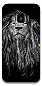 The Racoon Lean printed designer hard back mobile phone case cover for HTC One M9. (Rasta Lion)