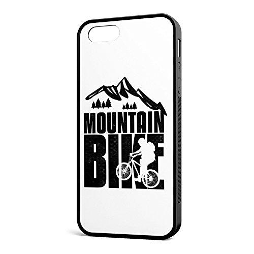 Smartcover Case Mountain Bike black z.B. für Iphone 5 / 5S, Iphone 6 / 6S, Samsung S6 und S6 EDGE mit griffigem Gummirand und coolem Print, Smartphone Hülle:Iphone 6 / 6S weiss Iphone 5 / 5S schwarz