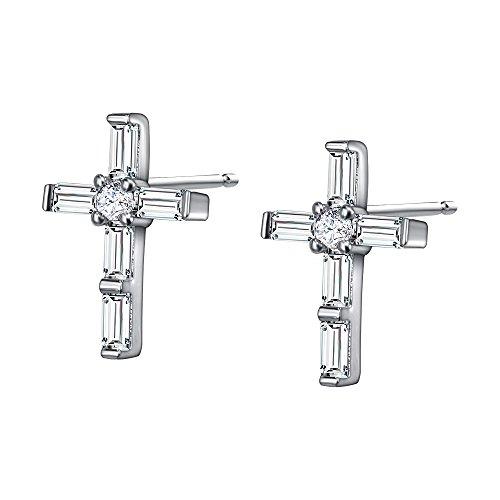 AoedeJ - Pendientes forma cruz religiosa hechos plata