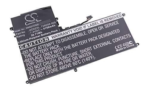 vhbw Batterie Li-Polymer 4150mAh (3.7V) pour Netbook Pad Tab Tablet HP Hewlett Packard J4M73PA#ABG, J5N62UT Remplace: 728558-005, AO02XL.