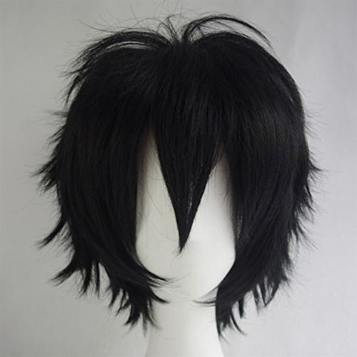 Cosplay Wigs Short Anime Costume Party Full Wigs Black Fashion Straight Synthetic Hair for Women Men