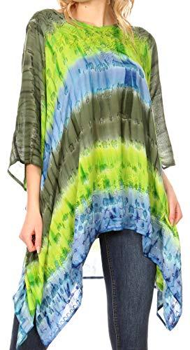 Importiert Damen Stiefel (Sakkas 1745 - Adalwin Desert Sun Leichte Kreis Ponch Tunika Top Bluse W/Stickerei - Charcoal/Green - OS)