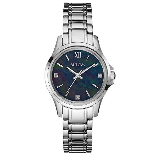 Bulova Diamante de Las Mujeres Reloj de Cuarzo con Negro Esfera Analógica y Plata Pulsera de Acero Inoxidable 96p153